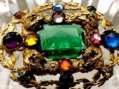 Fabulous Original Antique Gold Guilt Brooch Very Old Interesting FreeUKPostage