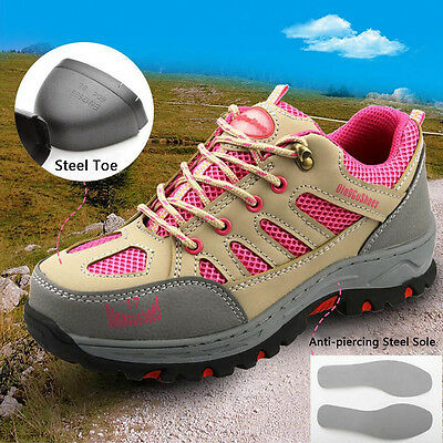 Women's Construction Breathable Working Safety Shoes Steel Toe Sole Work Boots
