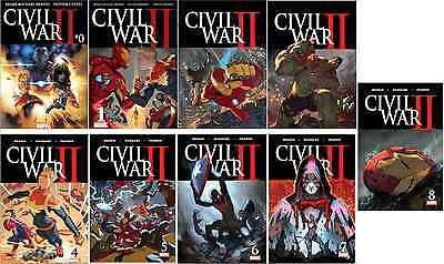 Marvel Civil War Ii 0 1 2 3 4 5 6 7 8 Full Regular Set 1St Prnt 2016 Comic Nm