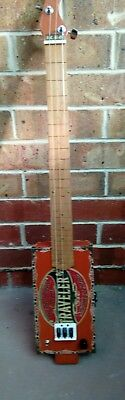 "Cigar box slide guitar 3 string fretless acoustic/electric 25.5"" scale length"