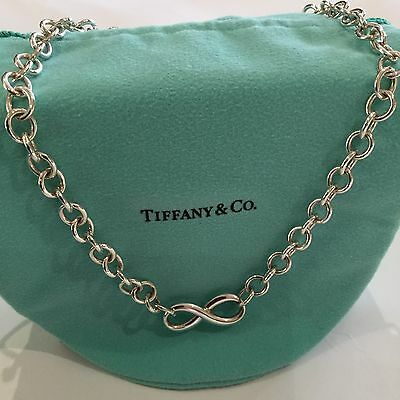 TIFFANY & CO INFINITY PENDANT NECKLACE LARGE LINK 925 Sterling Silver Box+Ribbon