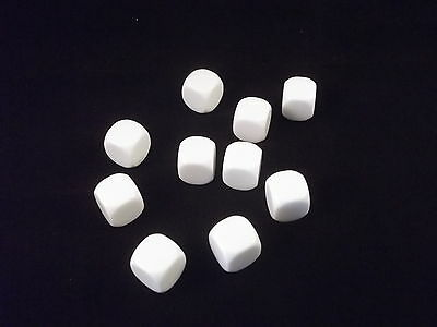 10 Blank White 16Mm Rounded Corner Dice / Die - D6 - New
