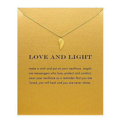 Angel Wing  'love And Light' Packaged With Card Pendant Necklace Gift  Uk Seller