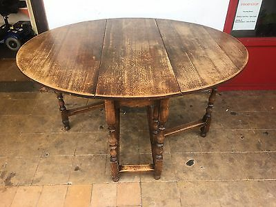 Antique Solid Oak Gate Legged Table. Original Item And Condition.