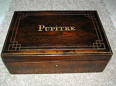 """Antique  Rosewood Writing Slope (French) With The Word """"pupitre"""" Inlaid."""