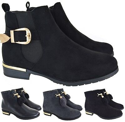 Ladies Womens Chelsea Low Cuban Heel Ankle Buckle Zip Casual Boots Shoes Sz 3-8