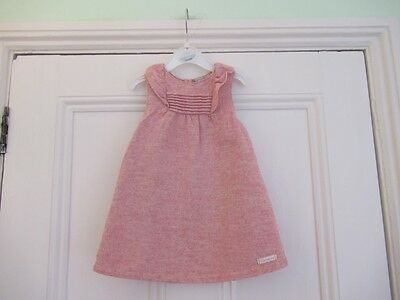12-18m: Pretty dusky pink dress: Wool/blend: Lined: TU: Good condition