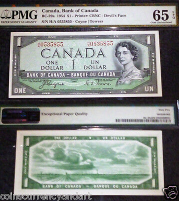 Devils Face H/A (change-over) Bank Of Canada PMG 65 . Scarcer prefix H/A