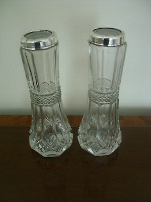 An Attractive Pair Of Solid Silver And Cut Glass Bud Vases Assayed London 1903