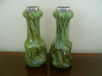 Beautiful Pair Of Solid Silver And Iridescent Coloured Vases Assayed London 1908