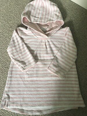Little White Company hooded Towel Robe. Beach Cover Pale Pink Girls 12-18 Months