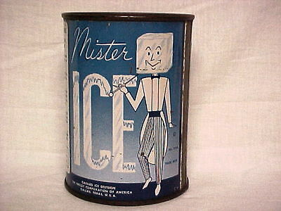 Full Can Mr. MISTER ICE Cooler Canned Ice 1950s Advertising Tin  Great Dispay