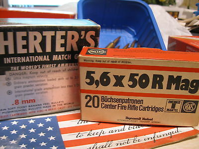 Get 2 Vintage Herter's 8mm ERROR box and a 5,6x50R Mag ammo Boxes storage trays