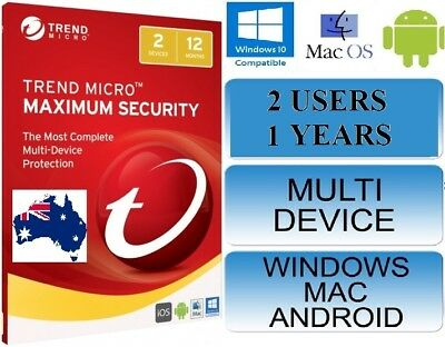 Trend Micro Maximum Security 2018 License 2 Devices 1 Year Licence MAC Windows