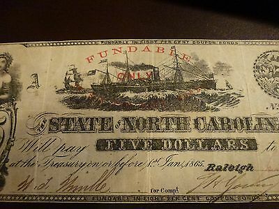 1862 NC Civil War Era CR-87-1(new Number#) Obsolete $5 Currency VF see pictures