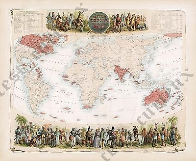 British Empire historic antique Victorian map Fullarton 1862 art poster canvas