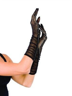Leg Avenue Sheer Mesh Ruched Elbow Length Evening Gloves With Rhinestone Trim