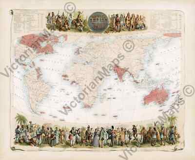 British Empire Great Britain old antique historic Victorian map 1862 art poster