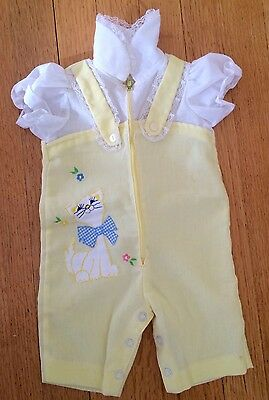 1950s Vintage Handmade By Grandma One Piece One Piece Lace Collar Baby Romper