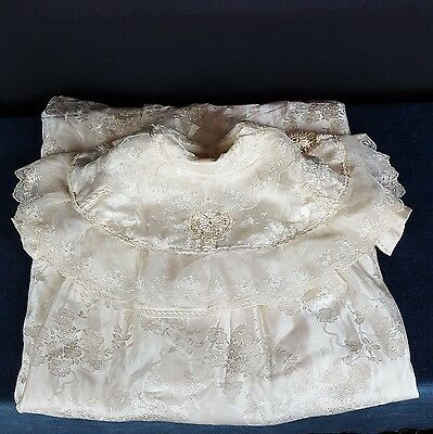 Vintage Antique Christening Gown Baby Doll Child Satin Lined Lace Ivory Gorgeous