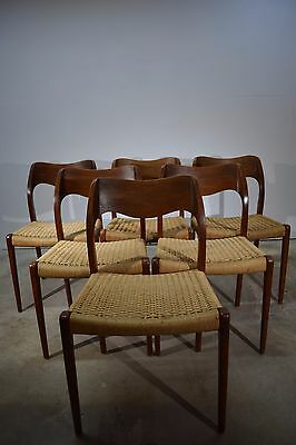 Set of six dining chairs, teak, Niels O. Møller, paper cord chairs
