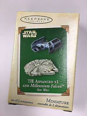 Hallmark 2005 Star Wars TIE X1 Millennium Falcon SET 2 Miniature MINI Ornaments