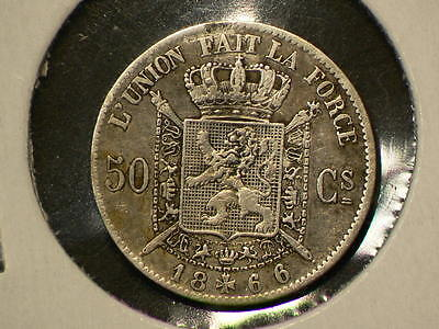 Belgium 1866, 50 Fifty Centimes,  KM# 26, Silver  #G7305