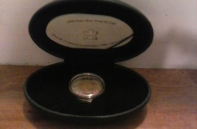 2000 Canada $2 Polar Bear Gold Plated Silver Proof Coin !!!
