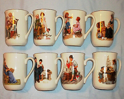 Vintage Norman Rockwell Museum Collection!Set of 8 Gold Trimmed Coffee Mugs!1982