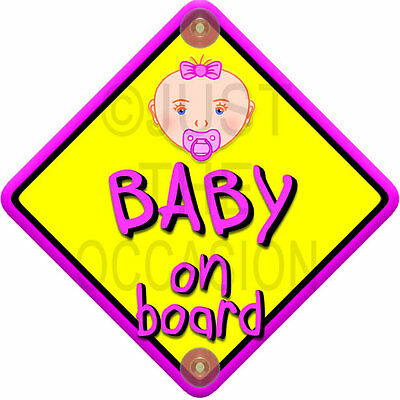 Pink ~ Non Personalised BABY FACE GIRL ~ novelty baby on board car window sign