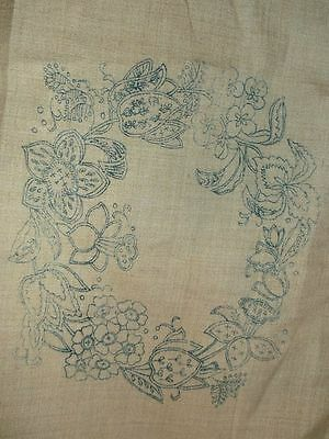 Vintage Crewel Work Linen Canvas Embroidery Transfer