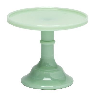 Mosser Glass Jadeite Green 6 Inch Glass Footed Pedestal Cake Plate Stand w Lip