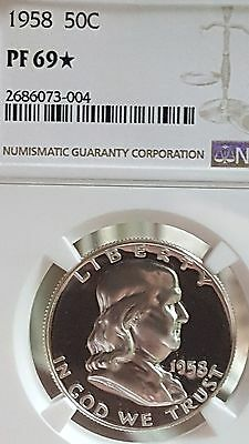 1958 Franklin Half Dollar 50C Ngc Certified Pf 69 * Star Proof [Rare!!!]