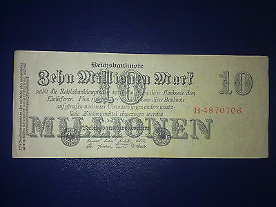 Germany - 10 Million Mark  Banknote 1923-Inflation - Very Fine