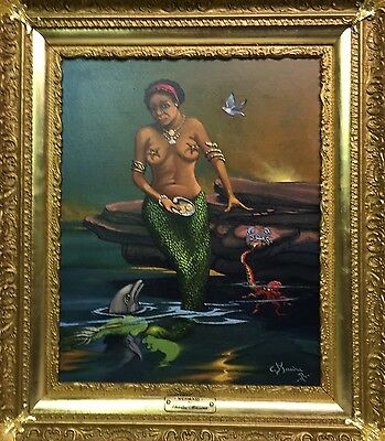 """Vintage Oil Painting O/Canvas -  African American   """" ==  MERMAID == """" - Signed"""