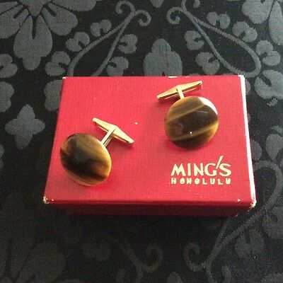 Mings of Honolulo cufflinks Tigereye with 14k yellow gold