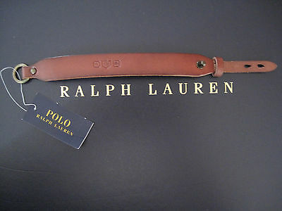 NEW RALPH LAUREN Polo Collar Stud Crest and Crown Brown Leather Bracelet