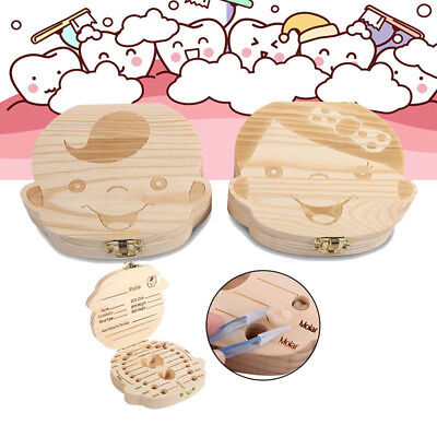 Kids Baby Boy Girl Wooden Storage Box Milk Teeth Save Tooth Box Organizer Gift