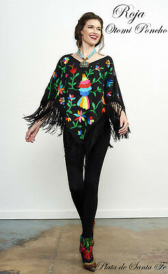 Roja Collection~Mexican Style~Hand Spun Cotton~OTOMI PONCHO~Piano Shawl Fringe