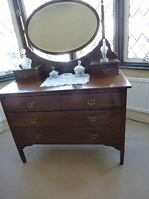 Edwardian Inlaid Dressing Table With Oval Bevelled Mirror