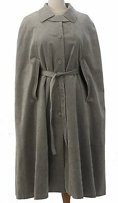 Long Belted Cape Coat Gray Alcantara Collection Philip Made in Sweden VTG 70s 14