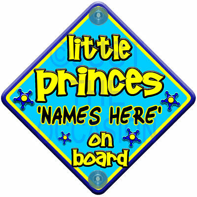 FUNKY LITTLE PRINCES  Personalised Blue & Yellow Baby on Board Car Window Sign