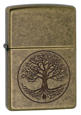 Antique Brass Pocket Lighter Zippo Tree of Life Windproof Refillable Durable