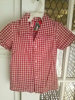Vintage 1970s Brand New girls checked s/s shirt size 9