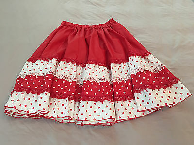 Red White Polka Dot and Lace Square Dance Skirt Womens Small to Medium