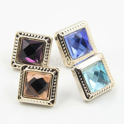 Hot Trendy 10Pcs Gold Square Glass Rhinestone Plastic Shank Buttons for Clothes