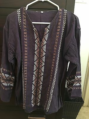 Embroidered Hand Made Mexico Tunic Size Large