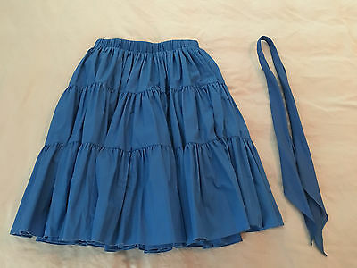 Royal Blue Tiered Square Dance Skirt Hand Made, Womens Small with Matching Tie