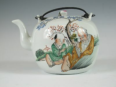 A Chinese Famille Rose Porcelain Teapot w/Silver Handle