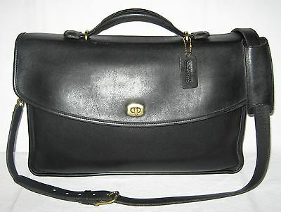 Coach Vintage Black Leather  Cross Body Messenger  Briefcase Laptop  Bag #5265